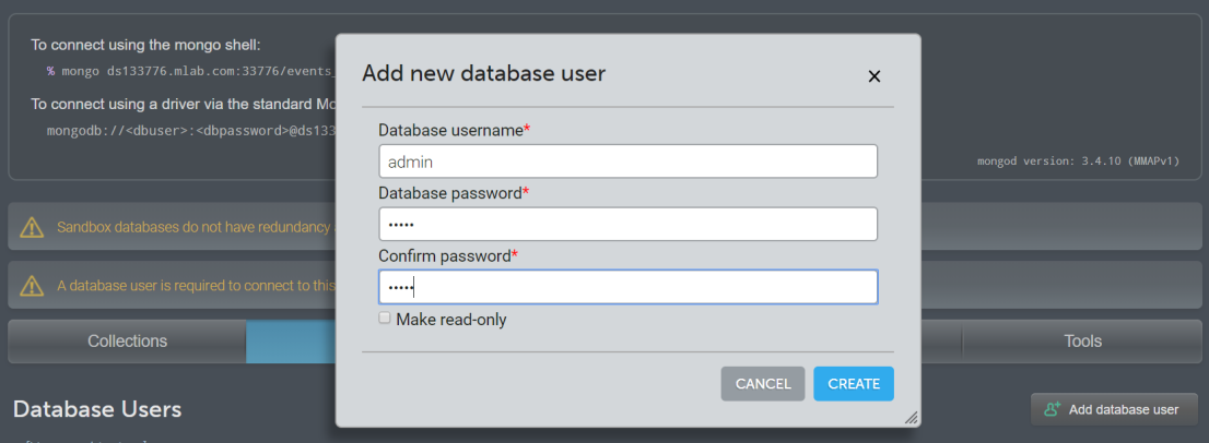 create user for mongo db